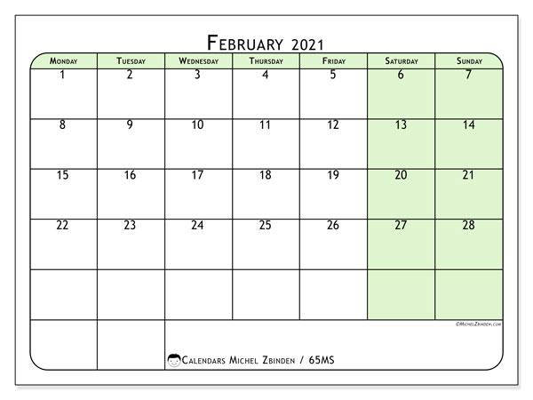 February 2021 Calendar, 65MS. Calendar to print free.