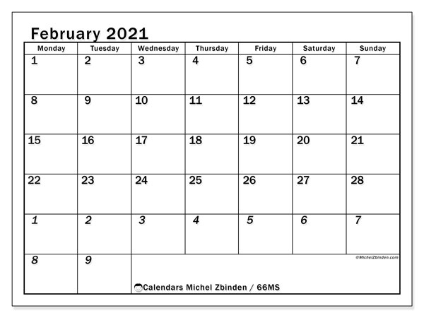 Calendar February 2021 - 66MS. The Total. Monthly Calendar and free printable planner.