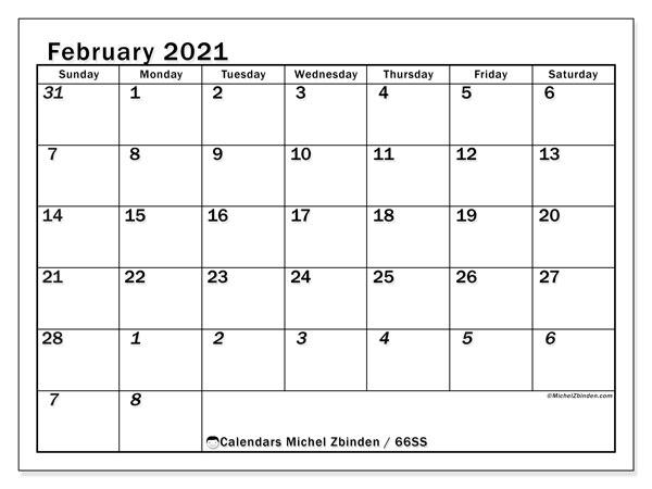 February 2021 Calendar, 66SS. Free calendar to print.