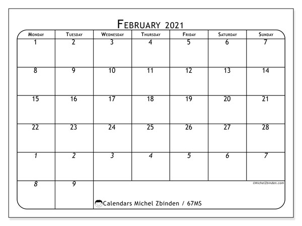 Calendar February 2021 - 67MS. The Complete. Monthly Calendar and free planner to print.