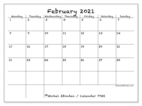 February 2021 Calendar, 77MS. Monthly planner to print free.