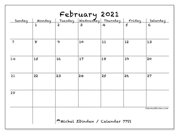 Calendar February 2021 - 77SS. Blackboard. Monthly Calendar and free printable timetable.