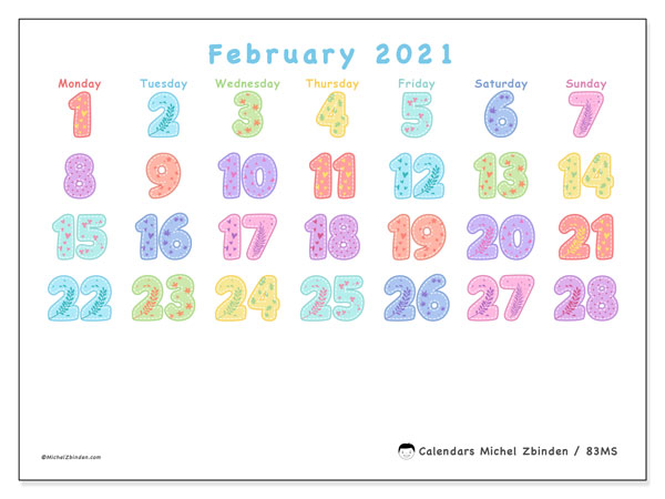 February 2021 Calendar, 83MS. Monthly calendar to print free.