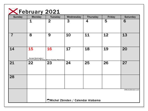 February 2021 Calendar, with the holidays of Alabama. Free printable calendar with public holidays.
