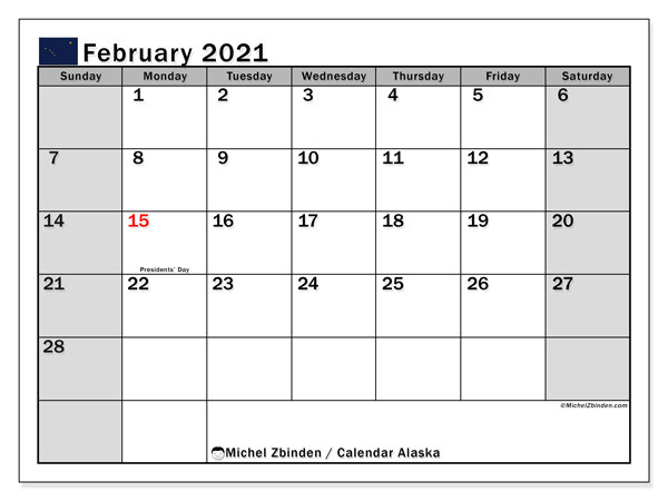 February 2021 Calendar, with the holidays of Alaska. Holidays calendar to print free.
