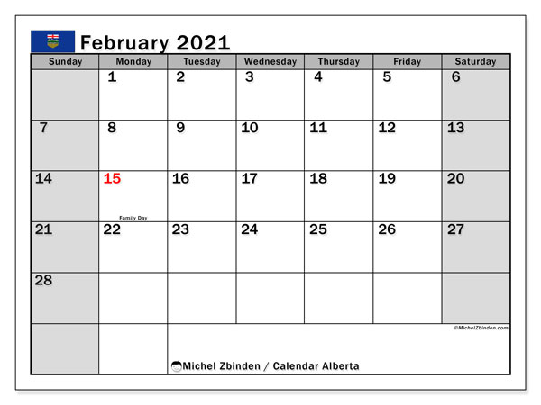 Calendar February 2021 - Alberta. Public Holidays. Monthly Calendar and free timetable to print.