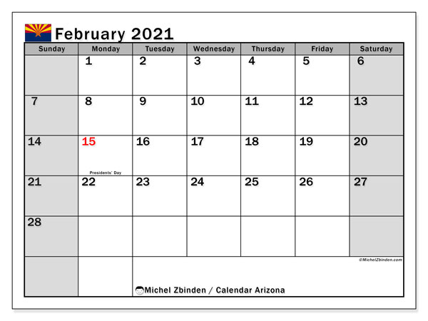 February 2021 Calendar, with the holidays of Arizona. Holidays calendar to print free.