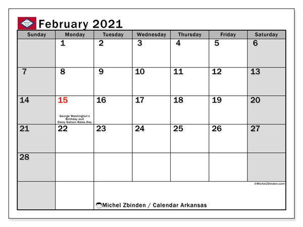 Calendar February 2021 - Arkansas. Public Holidays. Monthly Calendar and free bullet journal to print.