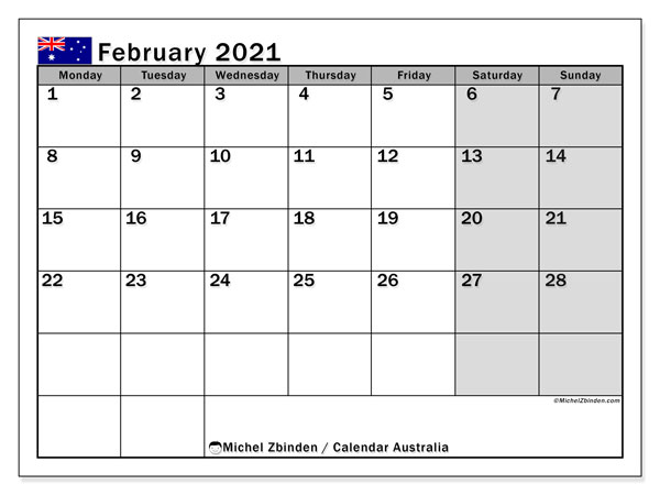 Printable calendars, February 2021, Public Holidays