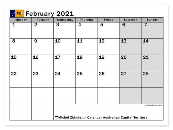 February 2021 Calendar, with the holidays of Australian Capital Territory. Free printable calendar with public holidays.