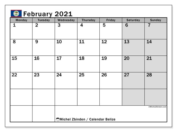 "Printable ""Belize"" calendar with public holidays. Monthly February 2021 calendar and free agenda to print."