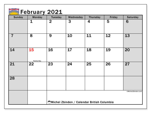 February 2021 Calendar, with the holidays of British Columbia. Holidays calendar to print free.
