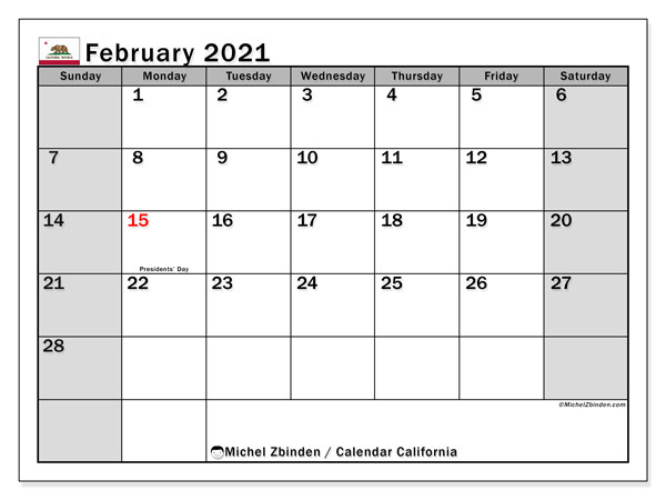 Calendar February 2021 - California. Public Holidays. Monthly Calendar and free timetable to print.
