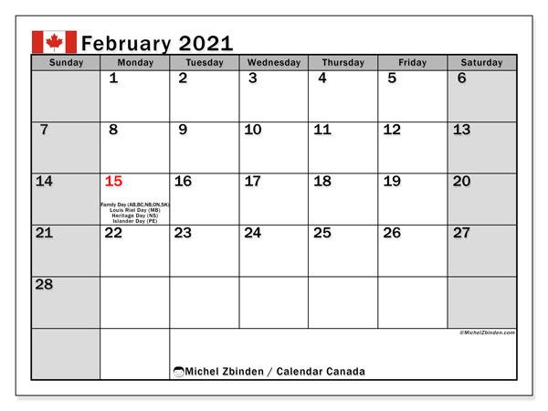 """2021 Calendar With Holidays Canada Printable February 2021 """"Canada"""" Calendar   Michel Zbinden EN"""