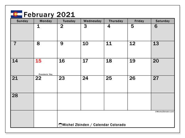 February 2021 Calendar, with the holidays of Colorado. Holidays calendar to print free.