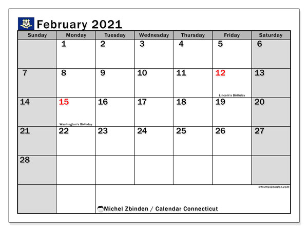 "Printable ""Connecticut"" calendar with public holidays. Monthly February 2021 calendar and planner to print free."