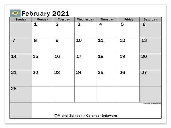 "Printable ""Delaware"" calendar with public holidays. Monthly February 2021 calendar and bullet journal to print free."