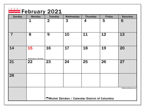 February 2021 Calendar, with the District of Columbia holidays. Free printable calendar with public holidays.