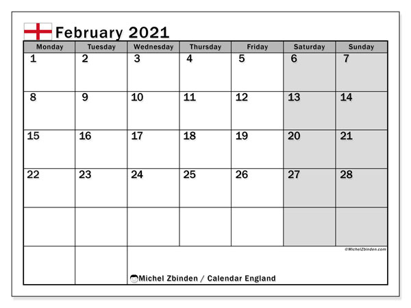 February 2021 Calendar, with the holidays of England. Free printable calendar with public holidays.