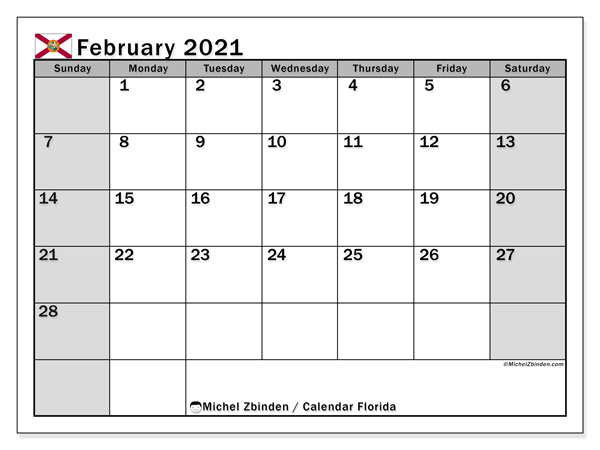 February 2021 Calendar, with the holidays of Florida. Free printable calendar with public holidays.