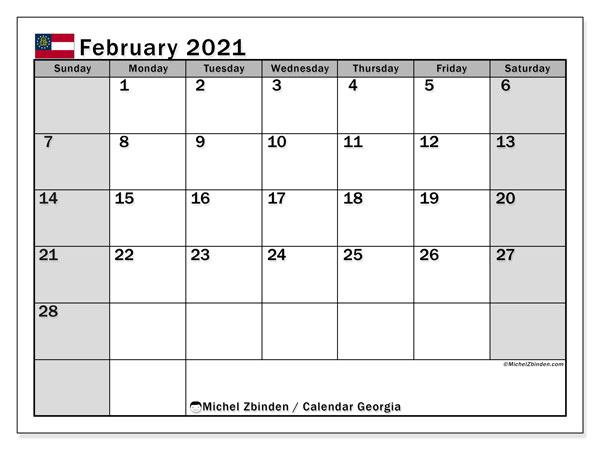 February 2021 Calendar, with the holidays of Georgia. Holidays calendar to print free.