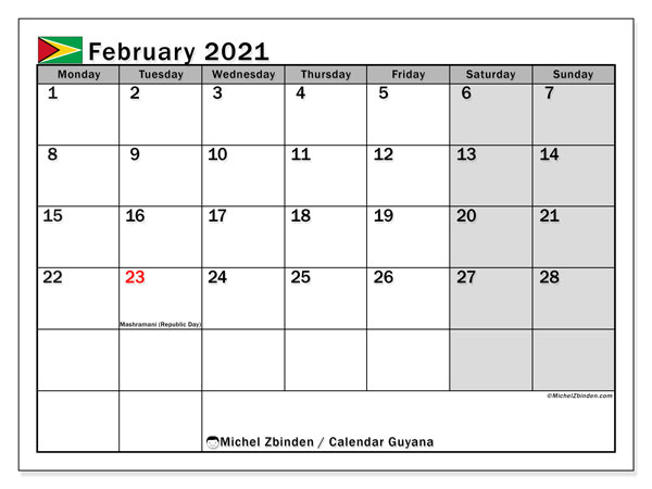 Calendar February 2021 - Guyana. Public Holidays. Monthly Calendar and bullet journal to print free.