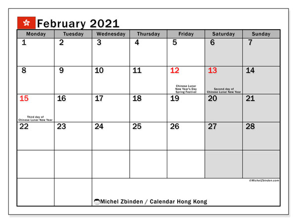February 2021 Calendar, with the holidays of Hong Kong. Holidays calendar to print free.