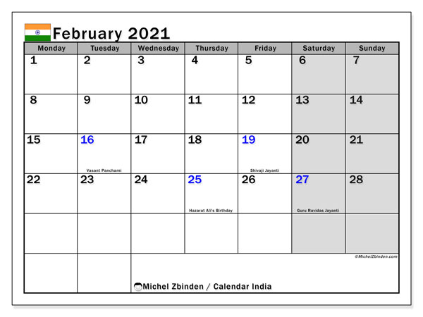 February 2021 Calendar, with the holidays of India. Holidays calendar to print free.