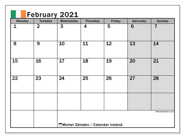 Calendar February 2021 - Ireland. Public Holidays. Monthly Calendar and free bullet journal to print.