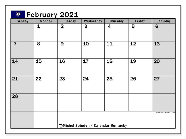 Calendar February 2021 - Kentucky. Public Holidays. Monthly Calendar and free planner to print.