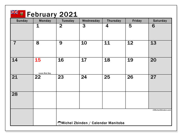 February 2021 Calendar, with the holidays of Manitoba. Holidays calendar to print free.