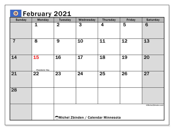 Calendar February 2021 - Minnesota. Public Holidays. Monthly Calendar and free schedule to print.