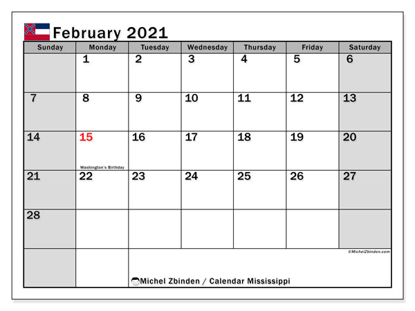 February 2021 Calendar, with the Mississippi holidays. Free printable calendar with public holidays.