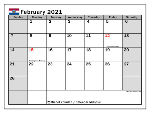 Calendar February 2021 - Missouri. Public Holidays. Monthly Calendar and bullet journal to print free.