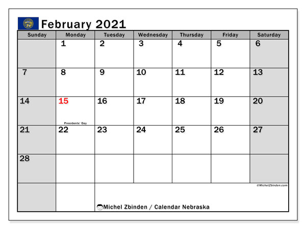 Calendar February 2021 - Nebraska. Public Holidays. Monthly Calendar and timetable to print free.