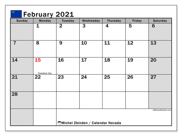 Calendar February 2021 - Nevada. Public Holidays. Monthly Calendar and planner to print free.