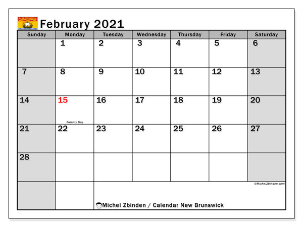 February 2021 Calendar, with the holidays of New Brunswick. Free printable calendar with public holidays.