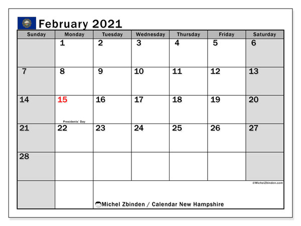 February 2021 Calendar, with the holidays of New Hampshire. Free printable calendar with public holidays.