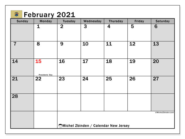 February 2021 Calendar, with the holidays of New Jersey. Holidays calendar to print free.