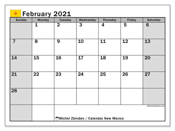 February 2021 Calendar, with the holidays of New Mexico. Free printable calendar with public holidays.