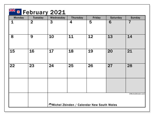 February 2021 Calendar, with the holidays of New South Wales. Free printable calendar with public holidays.