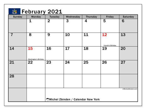 February 2021 Calendar, with the holidays of New York. Free printable calendar with public holidays.
