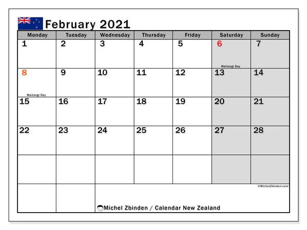 "Printable ""New Zealand"" calendar with public holidays. Monthly February 2021 calendar and bullet journal to print free."