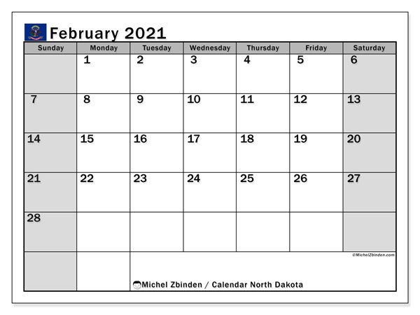 "Printable ""North Dakota"" calendar with public holidays. Monthly February 2021 calendar and free printable schedule."