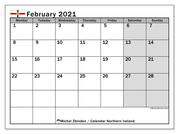 February 2021 Calendar, with the holidays of Northern Ireland. Holidays calendar to print free.