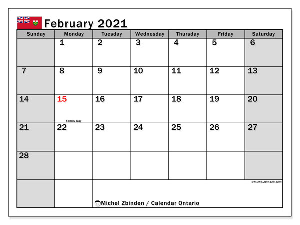 Calendar February 2021 - Ontario. Public Holidays. Monthly Calendar and free timetable to print.