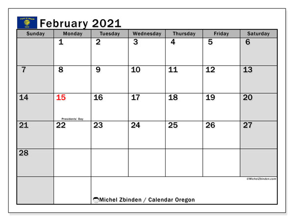 Calendar February 2021 - Oregon. Public Holidays. Monthly Calendar and free schedule to print.