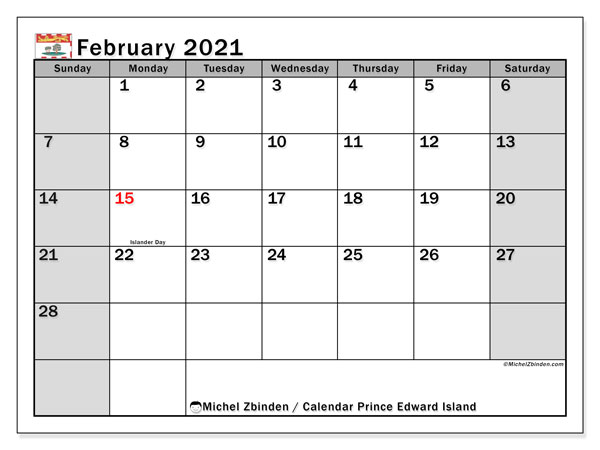 Calendar February 2021 - Prince Edward Island. Public Holidays. Monthly Calendar and free agenda to print.