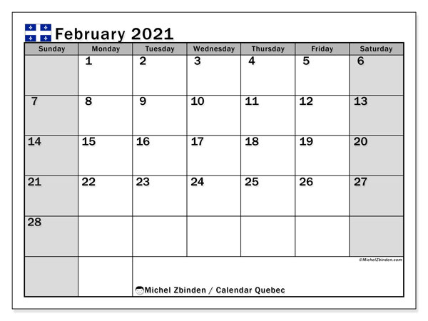 "Printable ""Quebec"" calendar with public holidays. Monthly February 2021 calendar and free schedule to print."