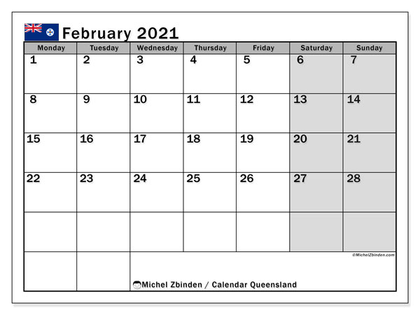 Calendar February 2021 - Queensland. Public Holidays. Monthly Calendar and free printable bullet journal.